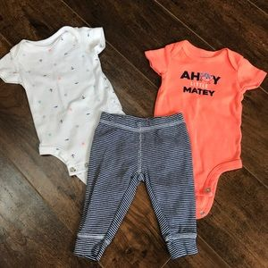 Carter's 3 mos boys 3 piece outfit with crab 🦀